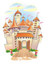 Fantasy castle with towers and flags Stock Image