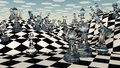 Fantasy chess landscape crystal chess pieces Stock Image