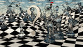 Fantasy chess landscape with other fantastical elements Stock Photos