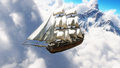 Fantasy concept of a pirate ship sailing through the clouds with snow cap mountains in background.