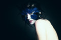 Fantasy concept. Woman with Art Makeup. Fantasy Blue Bird Royalty Free Stock Photo
