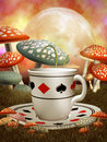 Fantasy cup and mushrooms Royalty Free Stock Photos