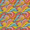Fantasy curles colorful texture. Hand drawn abstract background in colors of blue, pink and yellow Royalty Free Stock Photo