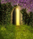 Fantasy door an ancient is opened and indoor lights are iluminating the scene Royalty Free Stock Photo