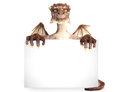 Fantasy dragon holding black sign advertisement room for text or copy space Stock Image