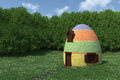 Fantasy egg house on blooming meadow d render Royalty Free Stock Photos