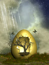 Fantasy egg with tree Stock Photo