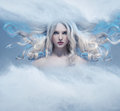 Fantasy expressive portrait of a blonde beauty Royalty Free Stock Photo