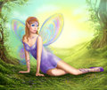 Fantasy fairy butterfly sits on grass in wood.