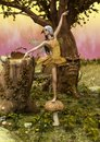 A scene of fantasy fairy dancing on a mushroom.
