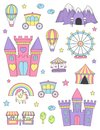Princess castle isolated design elements. Royalty Free Stock Photo