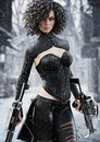 Fantasy female hunter holding duel crossbows tracking her target through snow.