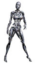 Fantasy female robot d render of a Stock Photography