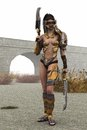 Fantasy female warrior in skimpy shiny metal armor armed with twin cleavers with armour and face guard stands ready for action Royalty Free Stock Photography