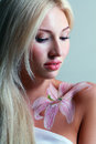 Fantasy flower body art beautiful close up portrait of a beautiful Stock Images