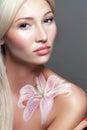 Fantasy flower body art beautiful close up portrait of a beautiful multirace blond womanl Stock Image