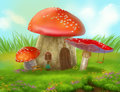 Fantasy fly agaric mushroom cottage on a colorful meadow Royalty Free Stock Photo