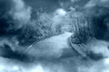 Fantasy footpath fog and clouds with blue Royalty Free Stock Images