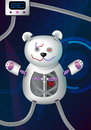 Fantasy futuristic hi-tech illustration of a bionic robot mechanical teddy bear with red heart, cords, charger and other