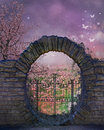 Fantasy garden background with moon gate Royalty Free Stock Photography