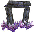Fantasy gate with crystals d render of a and purple Stock Photography
