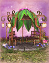Fantasy gazebo d illustration of a in garden Royalty Free Stock Photography
