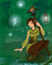 Fantasy girl in night forest with little fairies Royalty Free Stock Photo