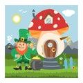 Fantasy gnome mushroom house vector cartoon fairy treehouse and magic housing village illustration set of kids gnome