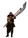 Fantasy headsman ogre like executioner holding large bladed glaive Royalty Free Stock Photos
