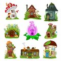 Fantasy house vector cartoon fairy treehouse and magic housing village illustration set of kids fairytale playhouse for
