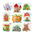 Fantasy house vector cartoon fairy treehouse and magic housing village illustration set of kids fairytale pumpkin or