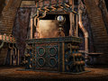 Fantasy iron altar with a crystal ball Stock Images