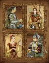 Fantasy kings and queens in armor and beautiful costumes Royalty Free Stock Photo
