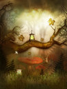 Fantasy lamp in the fairytale wood artwork Royalty Free Stock Photo