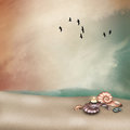 Fantasy landscape in the beach with seashell and candles Royalty Free Stock Photo