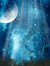 Fantasy landscape with big moon in the forest Royalty Free Stock Images