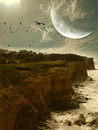 Fantasy landscape with cliff and big moon Stock Photo