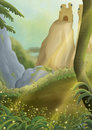 Fantasy landscape digital painting of an enchanted fairytale forest Royalty Free Stock Photo