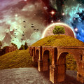 Fantasy landscape the hill with the old house and the bridge on a colorful background Royalty Free Stock Photos