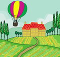 Fantasy landscape with hot air balloons illustration Stock Photo