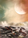 Fantasy landscape in the ocean with rocks Royalty Free Stock Photos