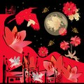 Fantasy landscape with red flowers, winged unicorns, moon and stars in night sky, silhouettes of herons, castle, red mountains
