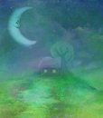 Fantasy landscape with smiling moon