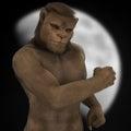 Fantasy lion man figure moon