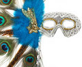 Fantasy mask with peacock feathers Royalty Free Stock Images