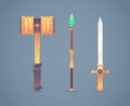 Fantasy medieval cold weapon set in flat-style Royalty Free Stock Photo