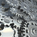 Fantasy metallic mechanism made of silver gears.   Abstract industrial  illustration Royalty Free Stock Photo