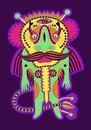Fantasy monster personage original modern cute ornate doodle Royalty Free Stock Image