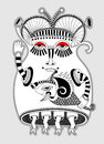 Fantasy monster personage original modern cute ornate doodle Stock Photo