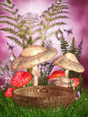Fantasy mushrooms and a basket Royalty Free Stock Photos